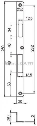Protiplech EA323 pro samozamykací zámky ABLOY pravý/levý